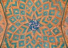 Brickwork mixed with blue tiles inside a mosque Stock Image