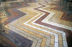 Brickwork Star Pattern. A star pattern in multi-coloured bricks stock photography