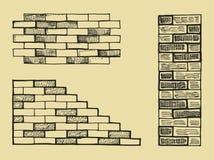 Brickwork wall and column. Vector hand drawing. Icon vector illustration