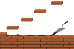 Brickwork, wall construction, white background Stock Photos