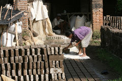 Brickyard. A woman was doing brickyard in Karanganyar, Central Java, Indonesia royalty free stock photography