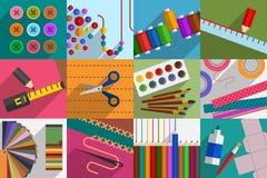 Bricolage Variété de sujets et d'outils Photos stock