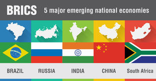 BRICS巴西,俄罗斯,印度,中国,南非在fl的世界地图 免版税图库摄影