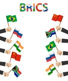 BRICS . association of 5 countries brazil . russia . india . china . south africa . Businessman hand hold and wave flag at stock illustration