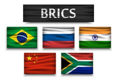 BRICS . association of 5 countries  brazil . russia . india . china . south africa  . Realistic flags with isolated background Royalty Free Stock Image