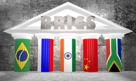 BRICS - association of five major emerging national economies members flags on gears Stock Image