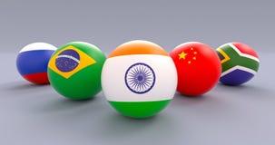 BRICS spherical flags, wedge form, India leading. BRICS association spherical flags in wedge formation, India leading, political and economic organization stock illustration