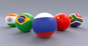 BRICS spherical flags, wedge form, Russia leading. BRICS association spherical flags in wedge formation, Russia leading, political and economic organization stock illustration