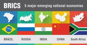 BRICS Brasilien, Ryssland, Indien, Kina, Sydafrika världskarta i fl royaltyfri illustrationer