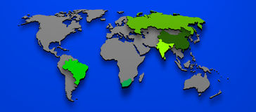 BRICS Brazil China Russia India South Africa Stock Photos