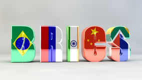 BRICS Brazil Russia India China South Africa. Letters Stock Image