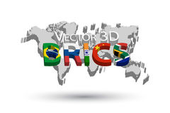 BRICS and 3D world map . Association of 5 countries  brazil . russia . india . china . south africa Stock Photos
