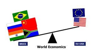 BRICS-de samenwerking van het land versus de EU de V.S. vector illustratie
