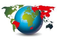 Brics. Icon, countries on globe, vector illustration Royalty Free Stock Image