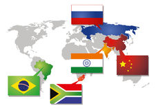 Brics icon with flags. Icon of the brics union with all participating countries on the world map royalty free illustration