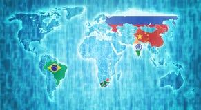 BRICS-länder på världskarta Arkivbilder