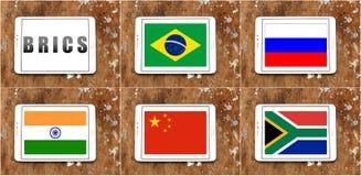 BRICS-landsflaggor stock illustrationer