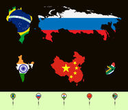 Brics map. Vector illustration.  Silhouette maps with flags  BRICS (Brazil, Russia, India, China, South Africa). Set creative markers with flags of states of the Royalty Free Stock Photos