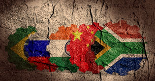Brics members national flags Royalty Free Stock Photos