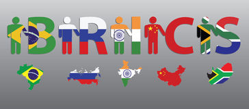 BRICS. Peoples and letters in the colors of the flag and map Royalty Free Stock Photos