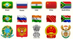 BRICS. Set icons, national shields, flags, buttons, emerging countries, asian countries, world flags, shields detailed national,and shields Royalty Free Stock Images