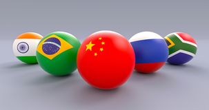 BRICS spherical flags, wedge form, China leading. BRICS association spherical flags in wedge formation, People`s Republic of China leading, political and royalty free illustration