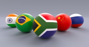 BRICS spherical flags, wedge form, RSA leading. BRICS association spherical flags in wedge formation, Republic of South Africa leading, political and economic royalty free illustration