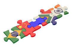 BRICS summit concept with puzzle. Isolated on white background Stock Photography