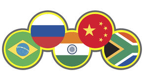 BRICS. Symbol of the association of emerging national economies, Brazil, Russia, India, China, South Africa Stock Images