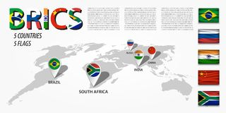 BRICS un'associazione di 5 paesi Brasile La Russia L'India La Cina La Sudafrica Mappa di mondo di prospettiva e lo del navigatore Fotografia Stock