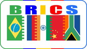 Brics union members national flags Royalty Free Stock Images