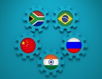 BRICS union members national flags on gears. BRICS - association of five major emerging national economies members flags on cog wheels. Trade union. Global Royalty Free Stock Photo