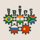 BRICS union members national flags on gears Royalty Free Stock Photos