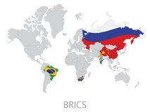 BRICS on world map Royalty Free Stock Photo