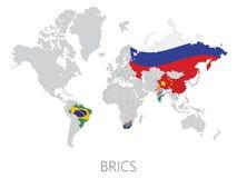 BRICS on world map Royalty Free Stock Photo