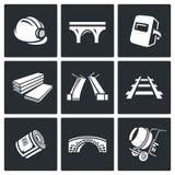 Bridżowej budowy ikony ustawiać również zwrócić corel ilustracji wektora Zdjęcie Stock