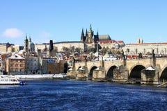 bridżowy grodowy Charles śnieżny grodowy Prague Obrazy Stock
