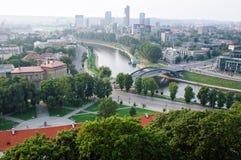 bridżowy Lithuania mindaugas widok Vilnius obraz stock