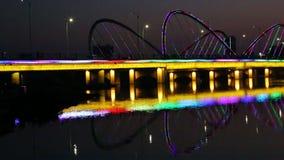 Bridżowy noc widok w Nanning mieście Chiny zdjęcie wideo