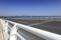 Bridżowy pokład wuyuan przecinający morze most, adobe rgb zdjęcia stock