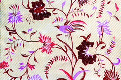 Brid and floweron batik fabric Royalty Free Stock Photography
