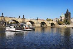 bridżowy miasta karlov Prague rzeki vltava Zdjęcie Royalty Free