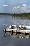 bridżowy pontonowy drewniany Obrazy Stock