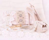 bridal ботинки, мешок и шарики Стоковая Фотография RF