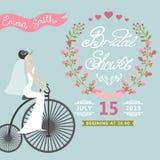 Bridal ливень Винтажное приглашение свадьбы с Стоковые Изображения RF