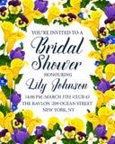 Bridal карточка приглашения партии ливня с цветком Стоковое Фото