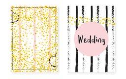 Bridal ливень установленный с точками и sequins Карточка приглашения свадьбы с confetti яркого блеска золота иллюстрация штока