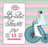 Bridal приглашение ливня с невестой на ретро Стоковая Фотография