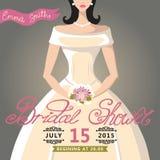 Bridal приглашение ливня с невестой Стоковые Фото