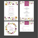 Bridal приглашение карточки ливня с цветками акварели Стоковое фото RF